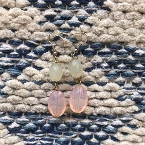 Pretty Translucent Dangle Earrings Pale Pink Green